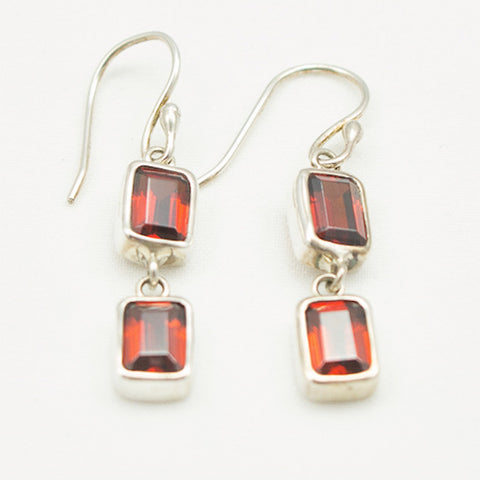 Sterling Silver Double Faceted Garnet Drops Earrings