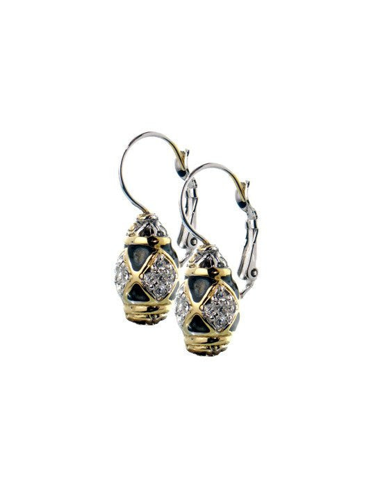 Lattice Collection, Black Abalone Edition, Pave French Wire Earrings by John Medeiros