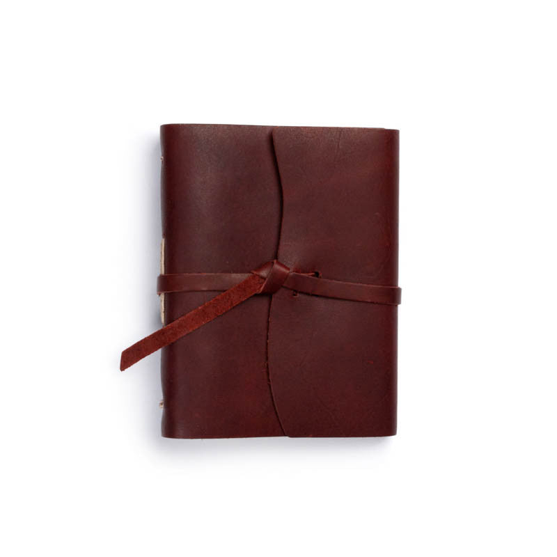 Leather Good Book Journal with Flap-tie in Burgundy