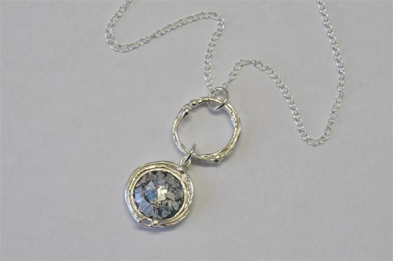 Open Circle With Round Patina Roman Glass Necklace