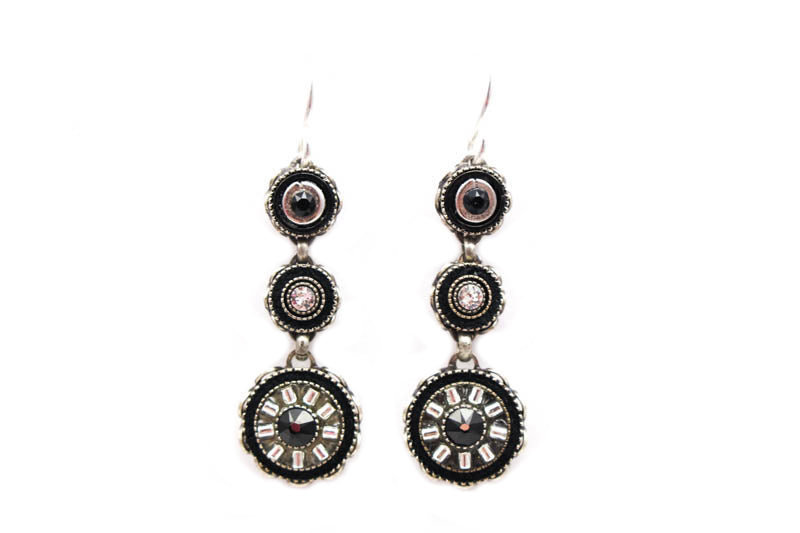 Black and White La Dolce Vita 3-Tier Earrings by Firefly Jewelry