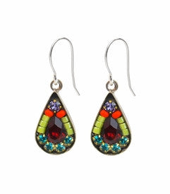 Multi Color Mosaic Tear Drop Earrings by Firefly Jewelry