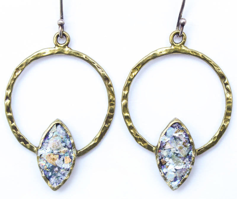Brass with Roman Glass Hoop Earrings