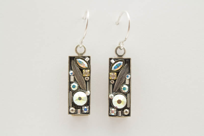 Aurora Borealis Luxe Small Rectangle Earrings by Firefly Jewelry