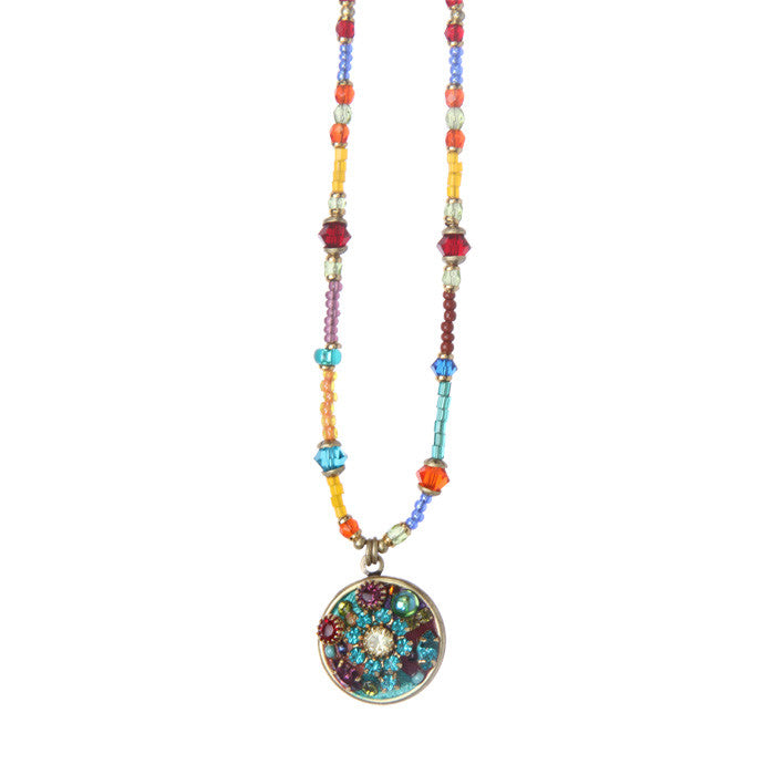 Multi Bright Round Pendant Beaded Necklace By Michal Golan