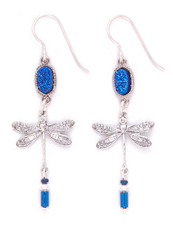 Dragonfly Blue Druzy Earrings by Desert Heart