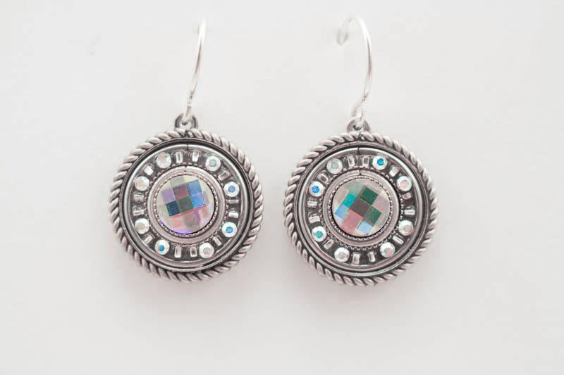 Aurora Borealis La Dolce Vita Round Earrings by Firefly Jewelry