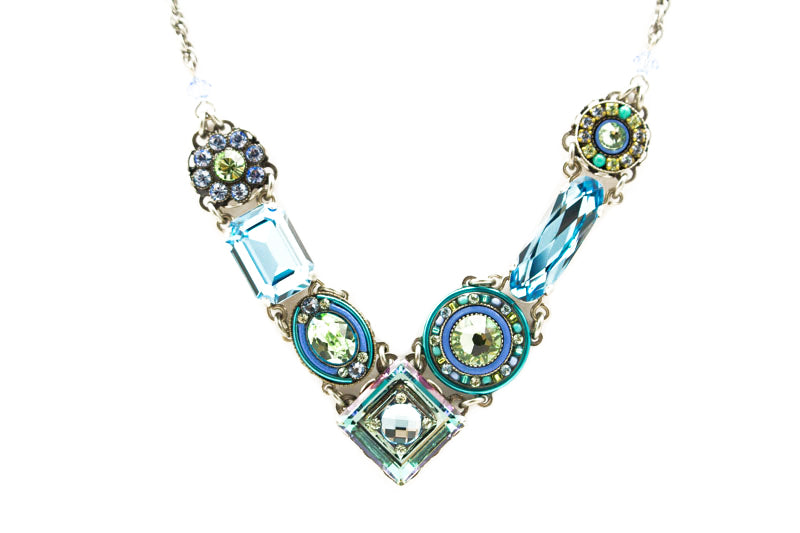 Aqua La Dolce VIta Crystal V Necklace by Firefly Jewelry