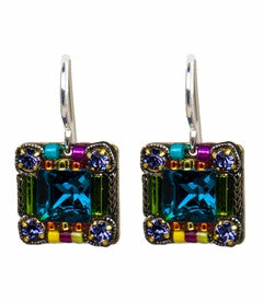 Multi Color Signature Collection Mosaic Square Earrings by Firefly Jewelry