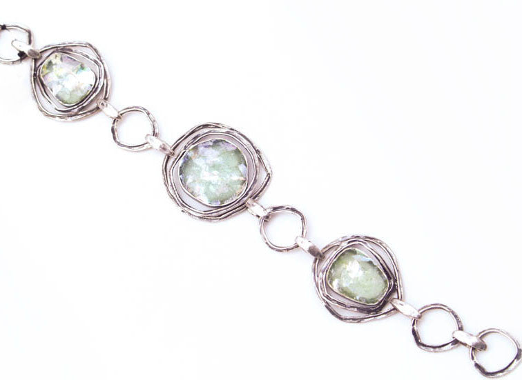 Triple Orbit Framed Round Patina Roman Glass Bracelet