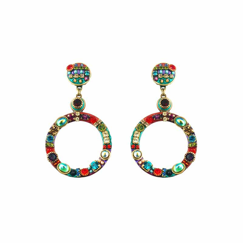 Multi Bright Two Part Design Large Hoop Earrings by Michal Golan