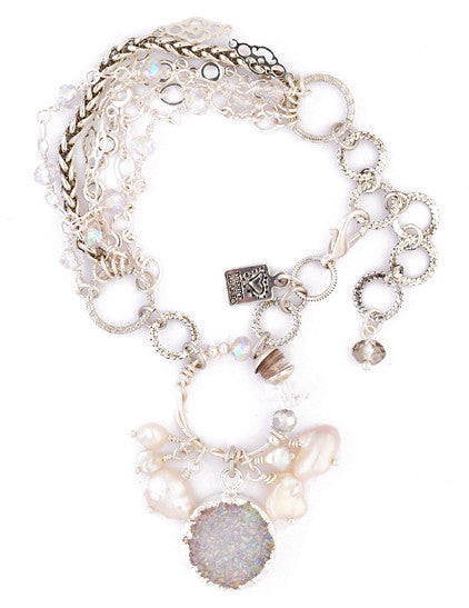 Crystal A/B Druzy Quartz with Silver Bezel and Pearls Bracelet by Desert Heart