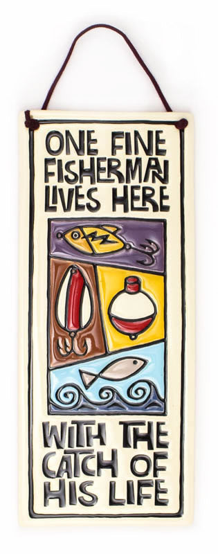 Fine Fisherman Large Tall Ceramic Tile