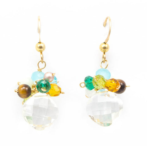 Cluster Rock Crystal Earrings by Anna Balkan