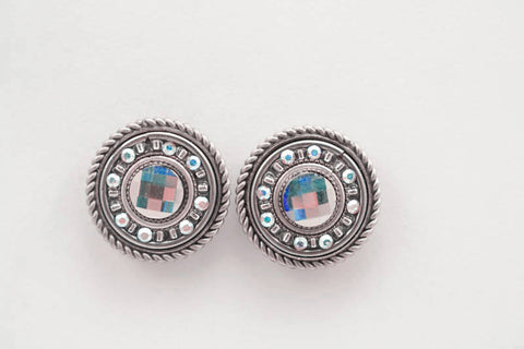 Aurora Borealis La Dolce Vita Round Post Earrings by Firefly Jewelry