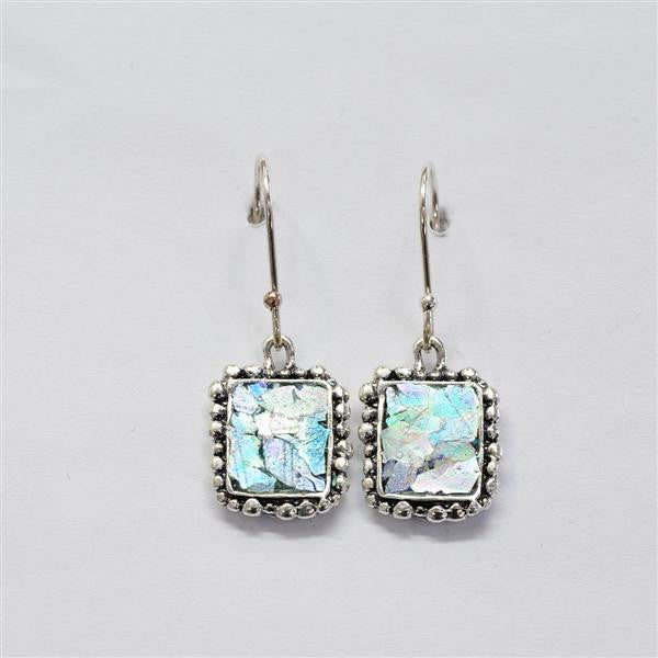 Beaded Edge Rectangle Patina Roman Glass Earrings