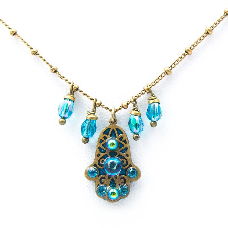 Hamsa Necklace Blue Necklace by Michal Golan