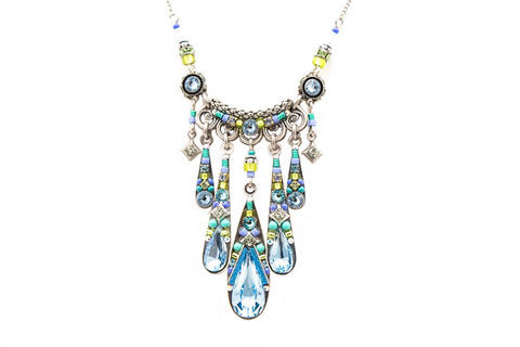 Aquamarine Camelia Waterfall Necklace by Firefly Jewelry