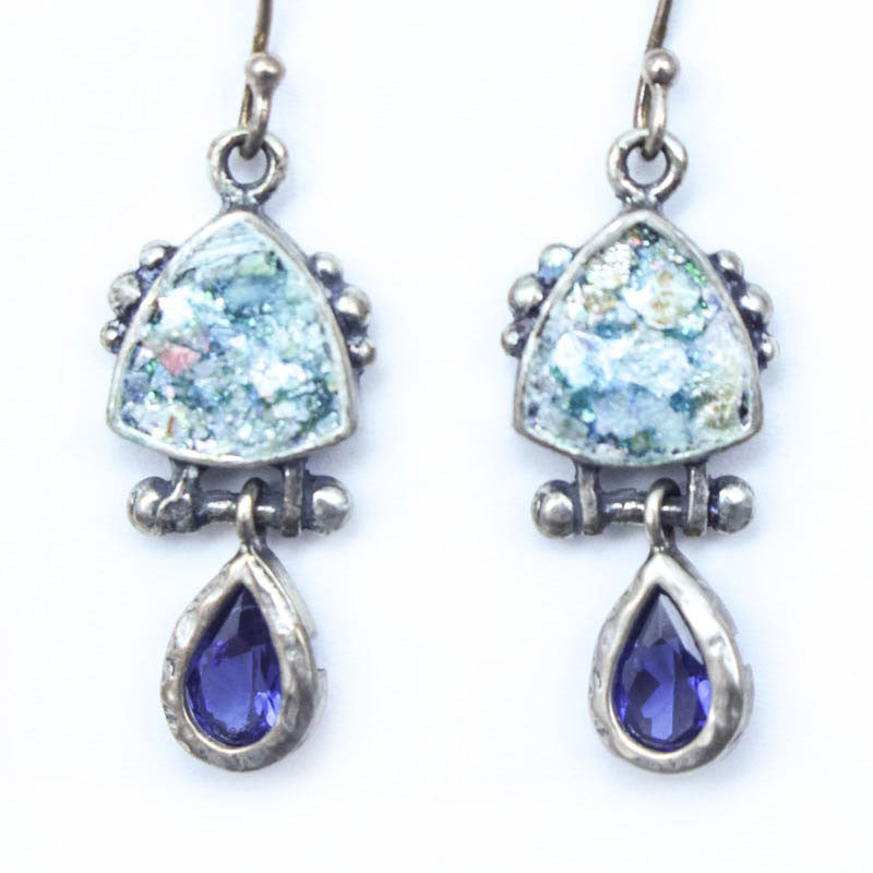 Cubic Zirconia Drop with Roman Glass Earrings