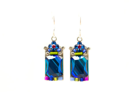 Bermuda Blue Mosaic Mirror Earrings by Firefly Jewelry