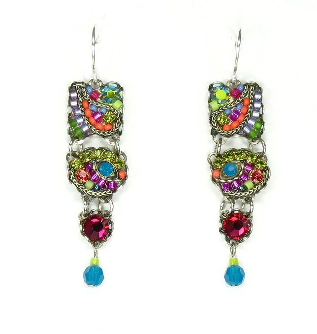 Multi Color Mosaic Squares and Circles Earrings by Firefly Jewelry