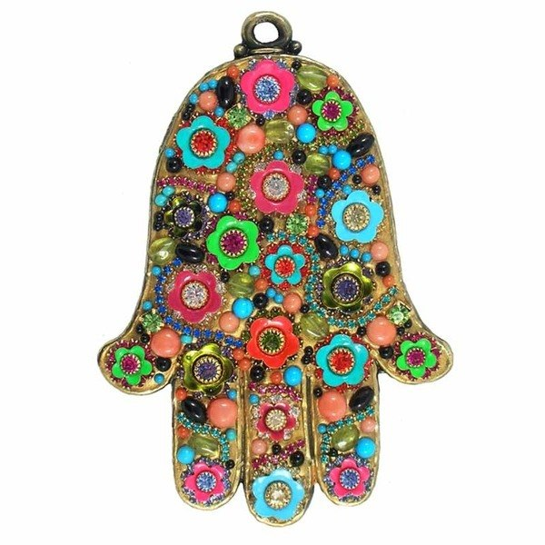 Multi Bright Flower Wall Hamsa