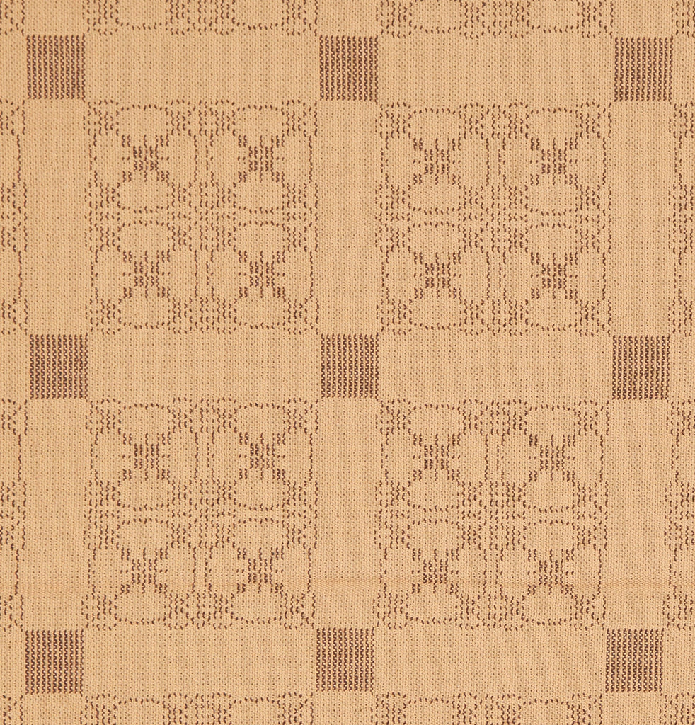 Carriage Wheel Queen Coverlet in Tan with Brown
