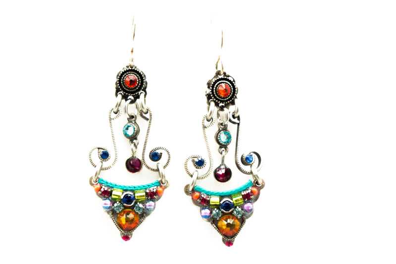 Multi Color Large 3-Tier Earrings by Firefly Jewelry