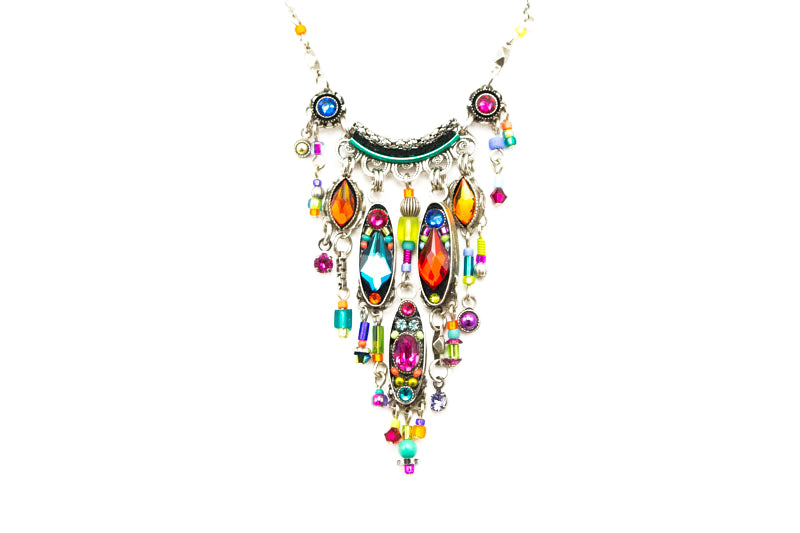 Multi Color Milano Waterfall Fringe Necklace by Firefly Jewelry