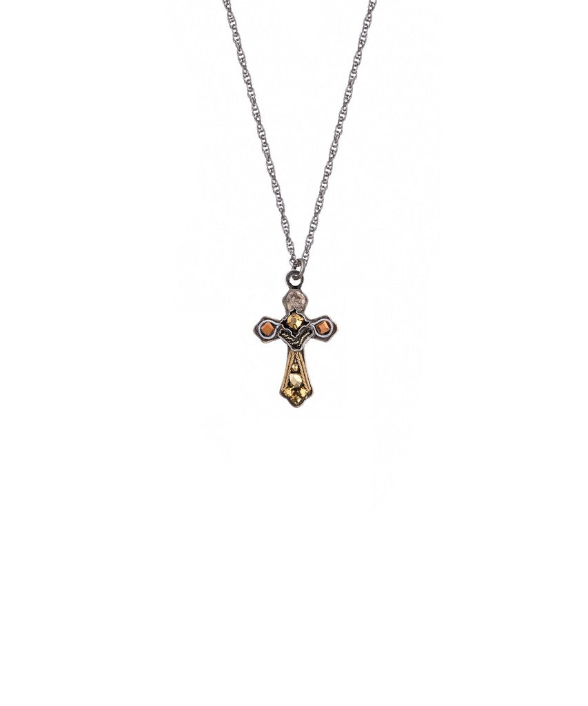 Gold and Black Small Cross Necklace by Ayala Bar