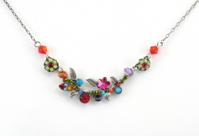 Multi Color Mosaic Floral Necklace by Firefly Jewelry