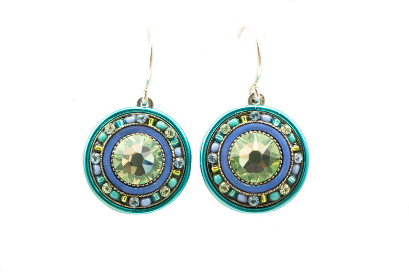 Aqua La Dolce Vita Round Earrings by Firefly Jewelry