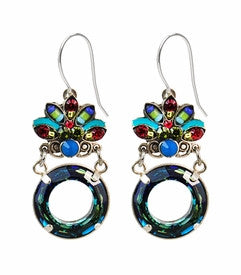 Multi Color Luna Crystal Circle Earrings by Firefly Jewelry