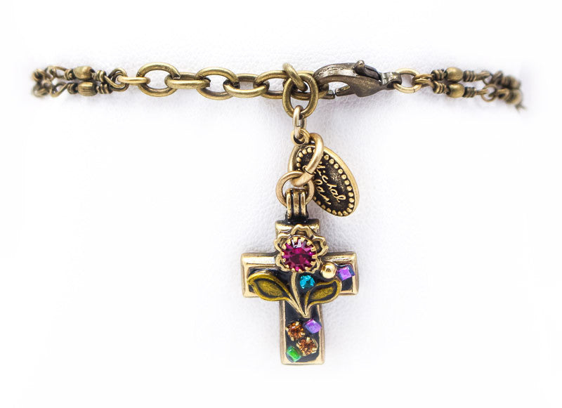 Flower Hanging Cross Bracelet by Michal Golan