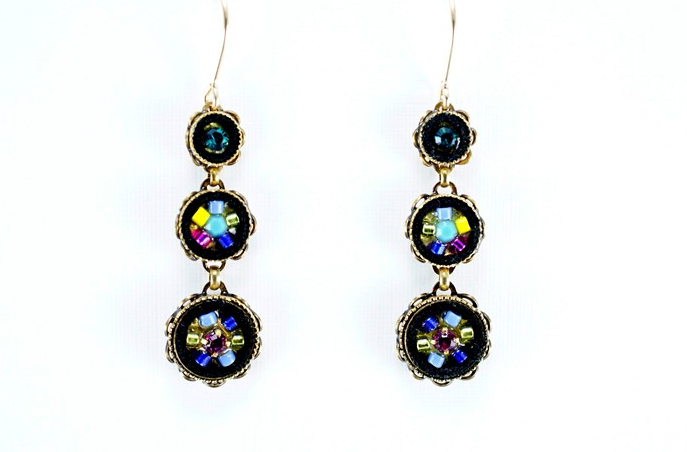 Multi Color Gold La Dolce Vita 3-Tier Earrings by Firefly Jewelry