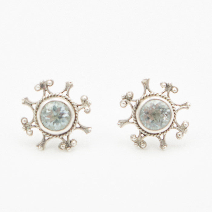 Sterling Silver Ornate Post with Round Faceted Blue Topaz Earrings