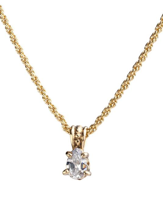 Beijos Collection 9x6mm CZ Pear Prong Set Pendant Necklace by John Medeiros