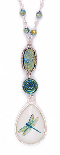 Dragonfly Rose Druzy Necklace by Desert Heart