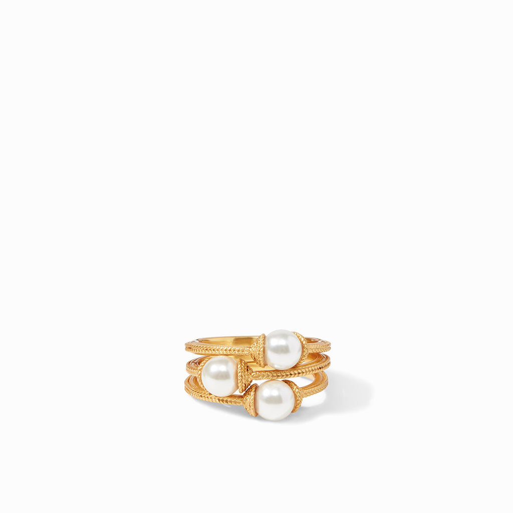 Calypso Pearl Stacking Ring Gold (Set of 3) Size 7 by Julie Vos