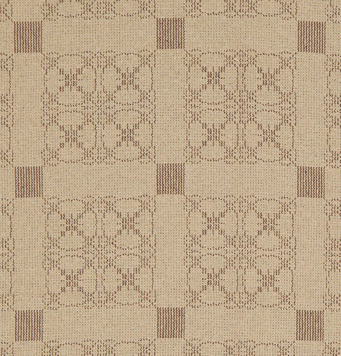 Carriage Wheel Queen Coverlet in Wheat with Brown