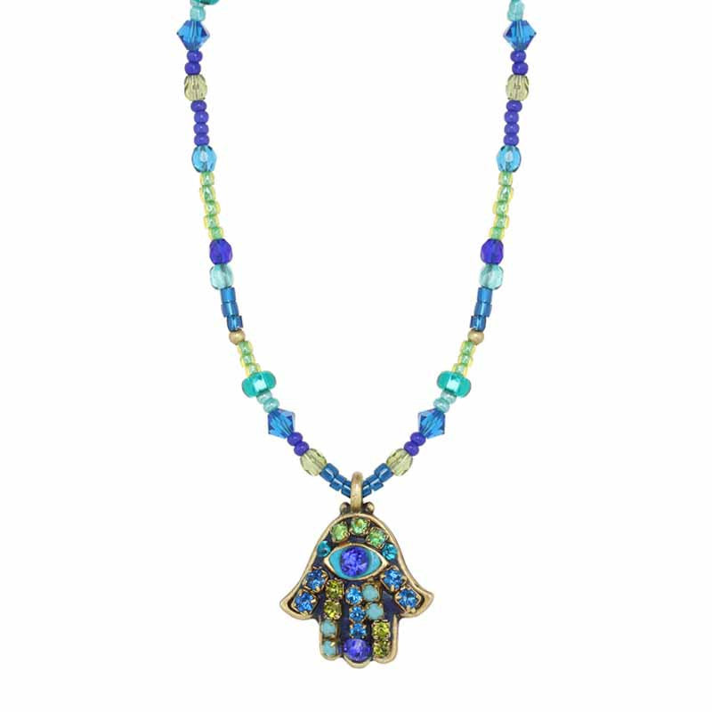 Beaded Peacock Eye Small Hamsa Necklace by Michal Golan