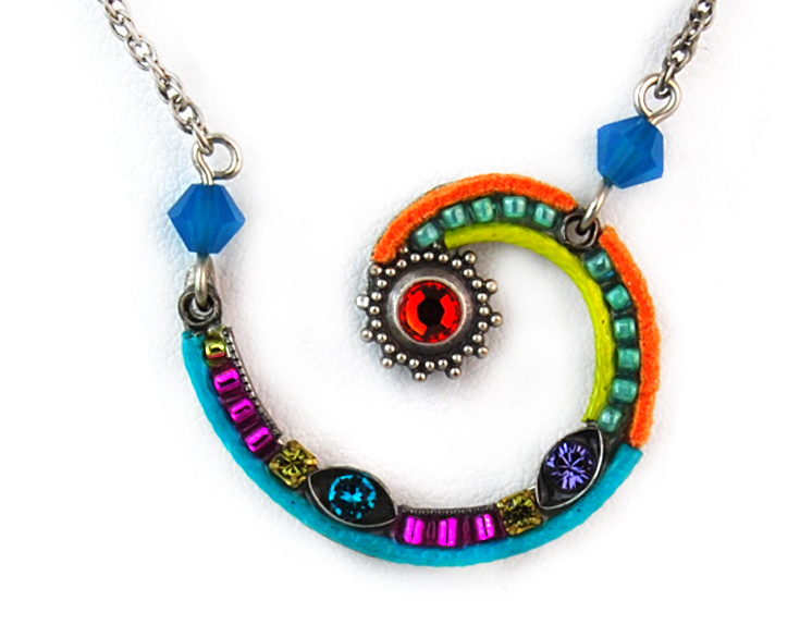 Multi Color Spiral Sunburst Necklace by Firefly Jewelry
