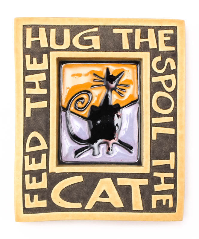 Hug the Cat Small Ceramic Tile