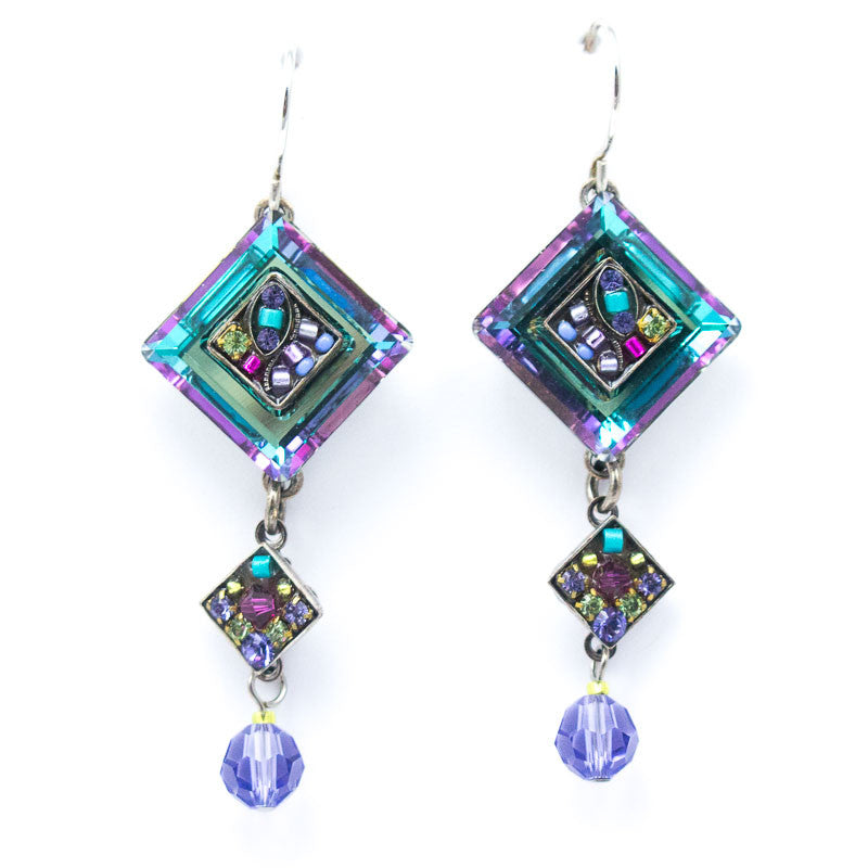 Amethyst La Dolce Vita Crystal Diagonal Earrings with Dangle by Firefly Jewelry
