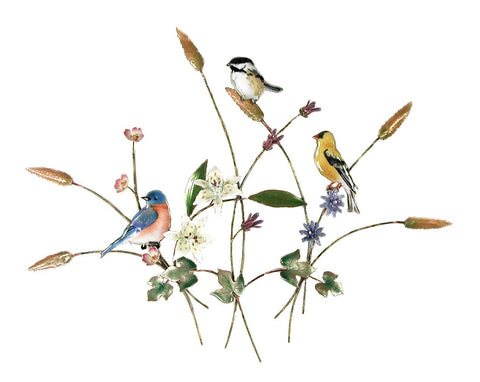Songbirds in Flower Meadow Wall Art by Bovano