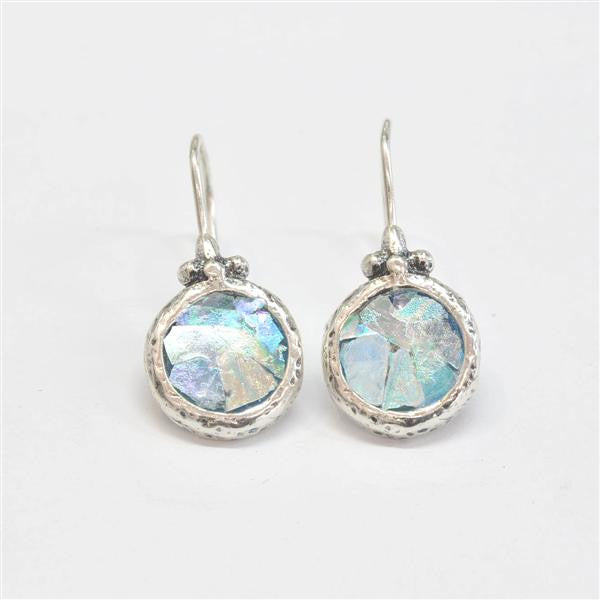 Round with Top Flourish Patina Roman Glass Earrings