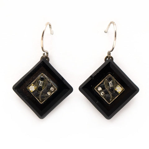 Black and White La Dolce Vita Crystal Diagonal Earrings by Firefly Jewelry