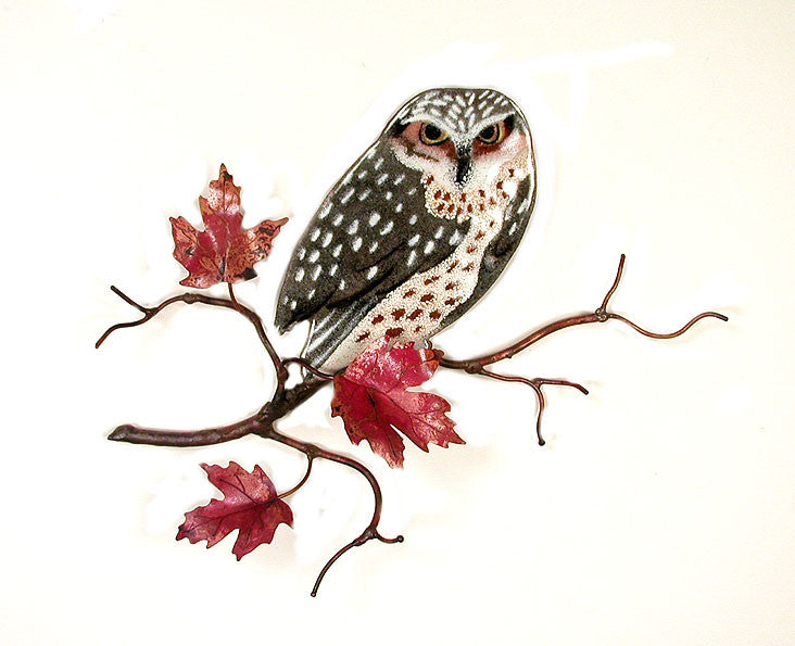 Owl on Maple Leaf Branch Wall Art by Bovano Cheshire