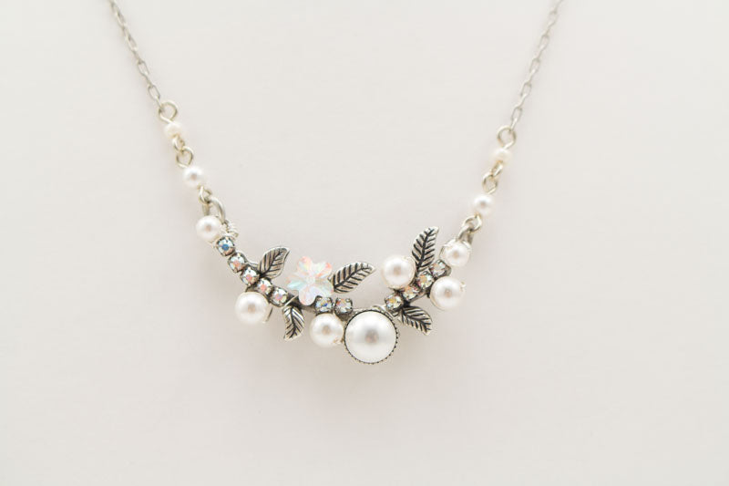 White Pearls Flora Petite Necklace by Firefly Jewelry