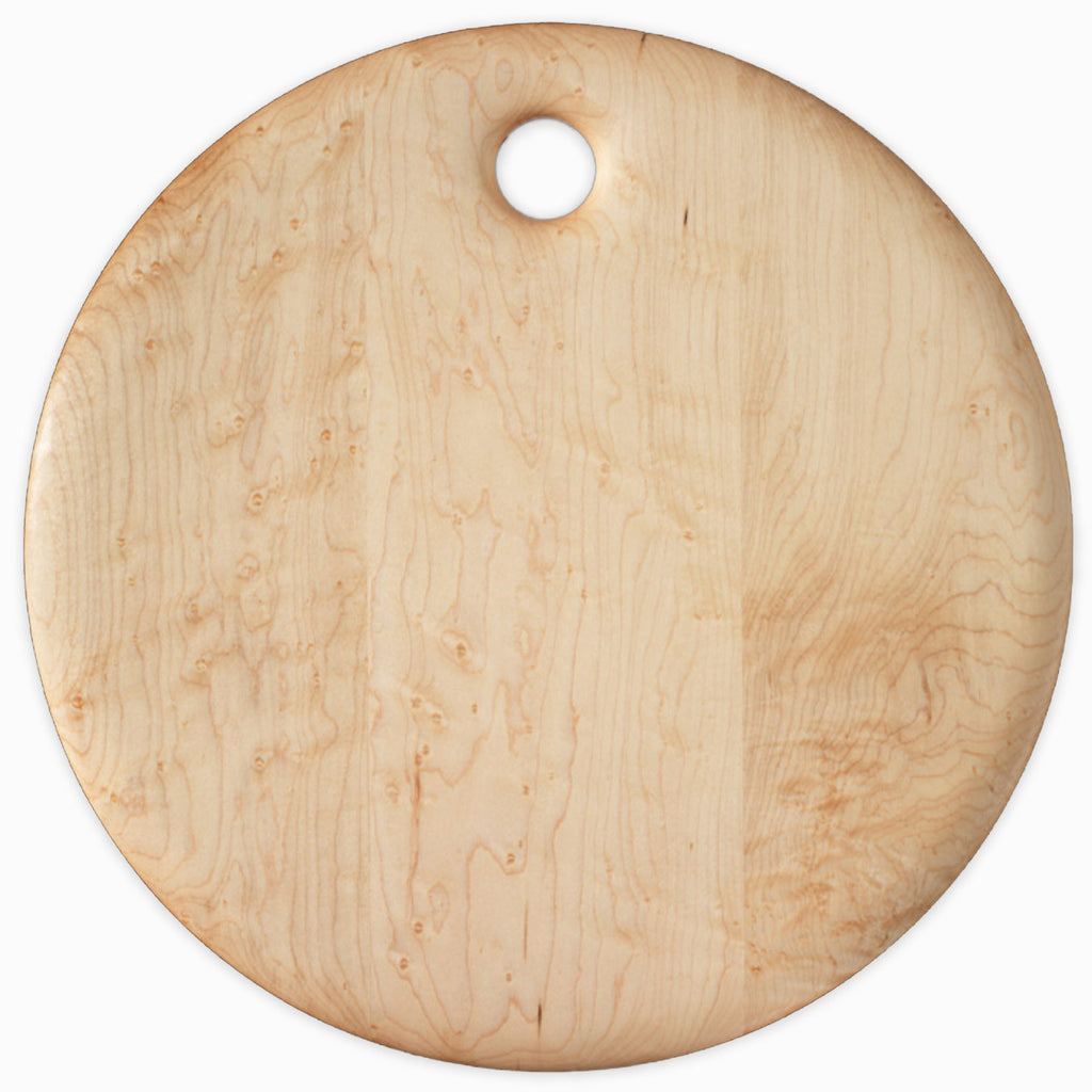 Bird's Eye Maple Round Breadboard - 14 inches